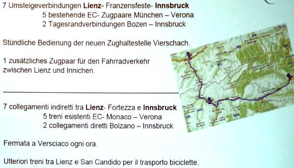Direkte Zugverbindung Franzensfeste Lienz
